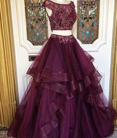 2017 New Arrival two pieces burgundy sequin prom dress, long burgundy evening dress ,sweet 16 dresses,graduation gowns