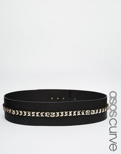 ASOS CURVE Wide Belt With Laid On Chain Detail