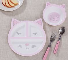 Shaped Kitty Plate & Bowl #pbkids
