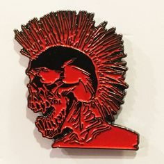 """Exploited Punks Not Dead Lapel Pin - 1.25"""" soft enamel pin - Black nickel with double rubber clutches - Comes on 4x6 postcard backing - By No More Industries"""