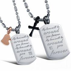 Edelstahl Damen Herz & Herren Kreuz Hundemarke Partneranhänger Halskette…