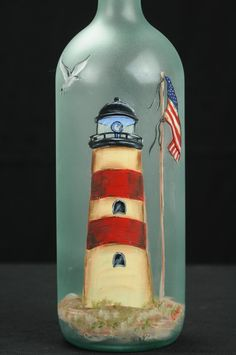 Illuminated hand-painted wine bottle / lamp / lighthouse with seagull and flag - Botellas - Wein Glass Bottle Crafts, Wine Bottle Art, Painted Wine Bottles, Lighted Wine Bottles, Painted Wine Glasses, Decorated Bottles, Wine Candles, Unity Candle, Candle Set