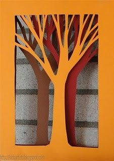 4th/5th/6th: fall tree tunnel books - do painted paper and embellish