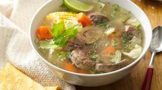 Besides menudo, the one soup I identify most with in my Mom's kitchen is caldo de res.  This was a typical dish prepared for Sunday night dinner during the fall and winter months. Simple ingredients, big flavors… all the comforts of Mom's cooking.  Today I want to share with you this special recipe. I hope you and your family enjoy it as much as I do.