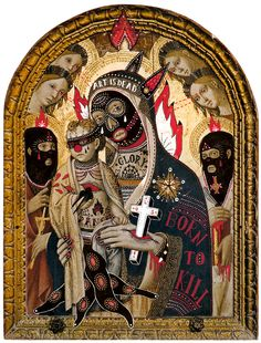 BORN TO KILL / 2012  mixed media on holy picture