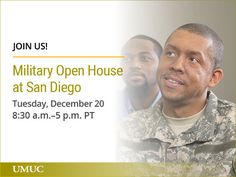 Join us at UMUC at San Diego for a Military Open House. This is a great chance to meet your military education coordinator and get started! http://go.umuc.edu/2hFqSGR