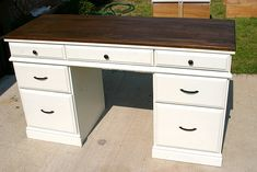 stained and painted desk