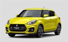 Télécharger fonds d'écran Suzuki Swift Sport, 2018 voitures, berline, jaune Swift, japonais voitures, Suzuki
