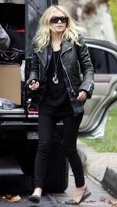 Ashley Olsen in black leather jacket. So love all black outfit <3