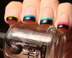 Black tips with multi-coloured stripe. Nail art.