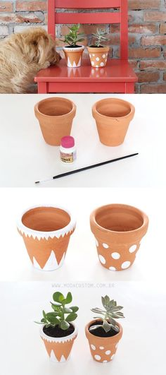 House Plant Maintenance Tips Diy Vasinhos De Cermica Pintados Pots D'argile, Clay Pots, Painted Flower Pots, Painted Pots, Diy Craft Projects, Diy And Crafts, Do It Yourself Decoration, Diys, Flower Pot Crafts