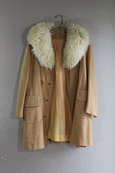 60s warm cream peacoat with huge mongolian lamb fur by lerobot