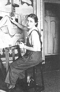 Lydia Delectorskaya in front of her easel in a photograph taken by Matisse. Lydia also modeled for a number of Matisse's works. 1935.