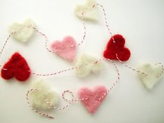 Made to order needle felted heart garland for por ThePortobelloRd