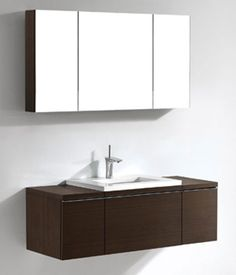 Venasca - Walnut Bathroom Vanity Madeli - Tubs & More Plumbing Showroom 48 Vanity, Wall Hung Vanity, Single Sink Bathroom Vanity, Modern Bathroom, Double Vanity, Bathroom Ideas, Glass Basin, Floating Vanity, Chrome Handles