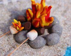 Miniature Fairy Garden Campfire Polymer by FairyTreeMiniatures