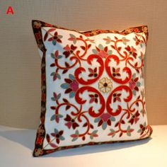 Chinese style 3 embroidered throw pillows for couch flower