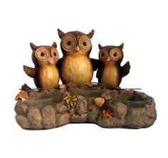 Yankee Candle Give A Hoot Owl Tea Light Holder 3 Whimsical Owls New In Box #YankeeCandle