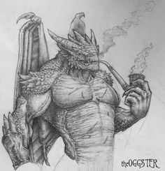 Man-Dragon Drawing by ~theoggster on deviantART