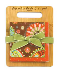 Chocolate Paisley Bamboo Cutting Board With Party Napkins Gift Set