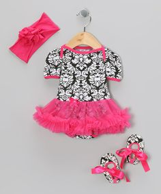 Take a look at this Hot Pink Damask Ruffle Skirted Bodysuit Set - Infant on zulily today!
