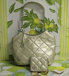 NWT Brighton Lena Chain Hobo Gold Quilted Leather Crystal Breeze + Wallet Set