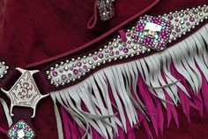 White Leather Breast Collar/Brow Band Headstall Set with Pink and clear Crystals, Double Layered Fringe - Pink and Black