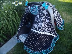 Carseat Canopy with Ruffle Edge Turquoise by fashionfairytales