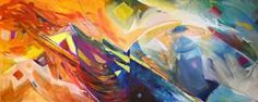 """Doris Colbert Kennedy What are space and time, really, and can we do without them? oil on canvas, 48 x 120"""" diptych 2008"""