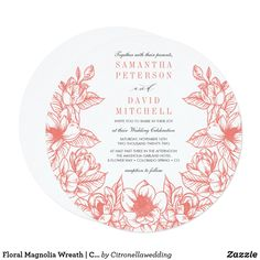 Floral Magnolia Wreath   Coral   Wedding Invitation Coral Wedding Invitations, Elegant Wedding Invitations, Zazzle Invitations, Magnolia Wedding, Magnolia Wreath, Formal Wedding, Celebrity Weddings, Color Schemes, Wreaths