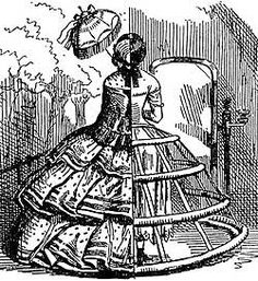 During the Victorian Era women wore a Crinoline under their dresses and skirts. This image is a cut away view of a crinoline. Crinoline is a skirt shaped structure designed to support he skirts of women's dresses. Victorian Era, Victorian Fashion, Victorian Dresses, Fashion Vintage, Retro Fashion, Womens Fashion, Caricatures, Punch Magazine, Fashion Bubbles
