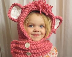 Darling Pink Hooded Cowl- Winter, New Baby, Toddler, Christmas, Birthday, Costume, Photo Shoot, Hat, Cowl, Hoodie, Baby Shower