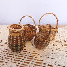 Lot of 4 Tiny Vintage Hand-Woven Wicker Baskets  by vintagedazzle