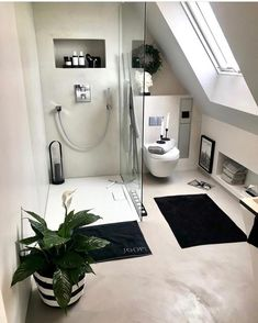 Modern Attic Bathroom Design Ideas - How to turn your attic into an extra room by creating a bathroom Install shelving in niches beneath sloping walls and create a luxurious feel with a w. Home Decor Store, Home, Bathroom Inspiration, Attic Bathroom, Loft Room, Small Attic Bathroom, Bathroom Interior Design, Home Decor Shops, Bathroom Design