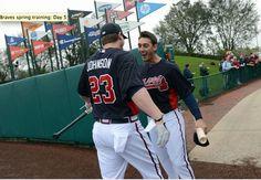 Atlanta Braves outfielder Jordan Schafer & third baseman Chris Johnson during spring training baseball workout