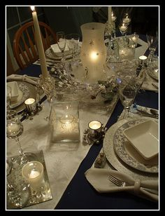 Blue & White Tablescape by dining delight, via Flickr