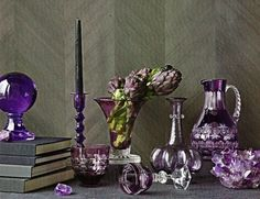 The color purple has long been associated with both nobility and spirituality; purple is the color of mourning for widows in Thailand and th. Purple Crafts, Geode Jewelry, Piano Room, Quartz Geode, Bedroom Paint Colors, Home Accents, Accent Pieces, Architecture Design, Glass Vase