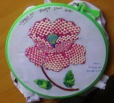 Hand Embroidery Designs # 159 - Straight stitch Flower Design