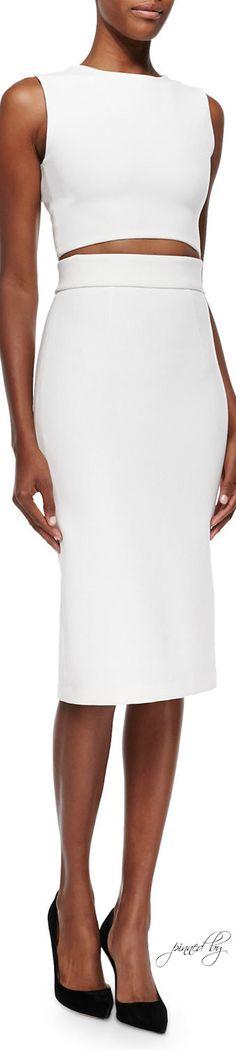 Alice + Olivia Arie Twist-Back Crop Top & Bobbi Midi Pencil Skirt | LOLO❤︎