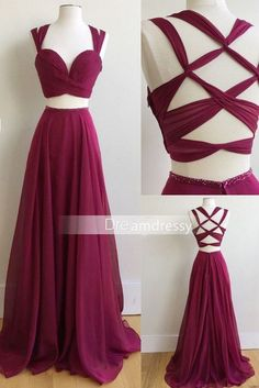 2017 Custom Made Two Piece Long Prom Dress, 2017 Burgundy Long Prom Dress, Formal Evening Dress