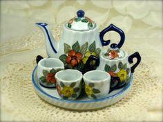 Tiny Porcelain Floral Tea Set (6 Piece)