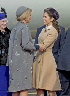 Good friends meet again at Copenhagen Airport, here Queen Máxima and Crown Princess Mary.