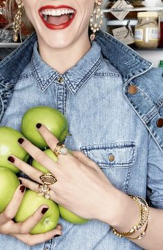 red lips, denim top, sparkles and apples