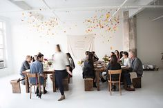 Kinfolk + Sunday Suppers | Sunday Supper Studio | Williamsburg,Brooklyn | photography by Karen Mordechai | Banner by Simplesong Design  Flowers by BRRCH
