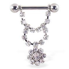 Nipple ring with dangling jeweled chain and flower, 12 ga or 14 ga. #nipplering #nipple #bodyjewelry #piercings #nipplejewelry ♥ $12.99 via OnlinePiercingShop.com