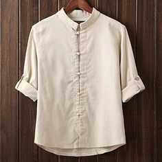 Cheap men linen shirt, Buy Quality social shirt directly from China linen shirt Suppliers: Men Linen Shirts Long Sleeve Chinese Style Mandarin Collar Traditional Kung Fu Tang Casual Social Shirt Brand Clothing Stand Collar Shirt, Collar Shirts, Men Shirts, Shirt Men, Style Kimono, Shirt Style, Col Mandarin, Chemise Fashion, Vetements Clothing