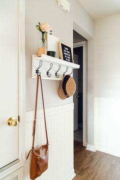Diy Entry Shelf, Entry Shelf With Hooks, Diy Wall Hooks, Hallway Shelf, Ladder Shelf Diy, Entryway Hooks, Entry Wall, Diy Wall Shelves, Foyer