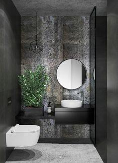 31 Inspiring Black Powder Room Design Ideas With Modern Style Powder Room Decor, Powder Room Design, Bad Inspiration, Bathroom Inspiration, Black Powder Room, Modern Powder Rooms, Master Bathrooms, Contemporary Bathrooms, Bad Styling