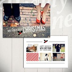 Etsy の Holiday Card Template: Holly Jolly by LaurieCosgroveDesign