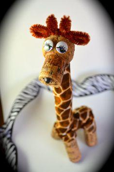 Giraffe Wine Cork  Ornament Gift  Wild Animal by DiVineWineCorks, $12.00